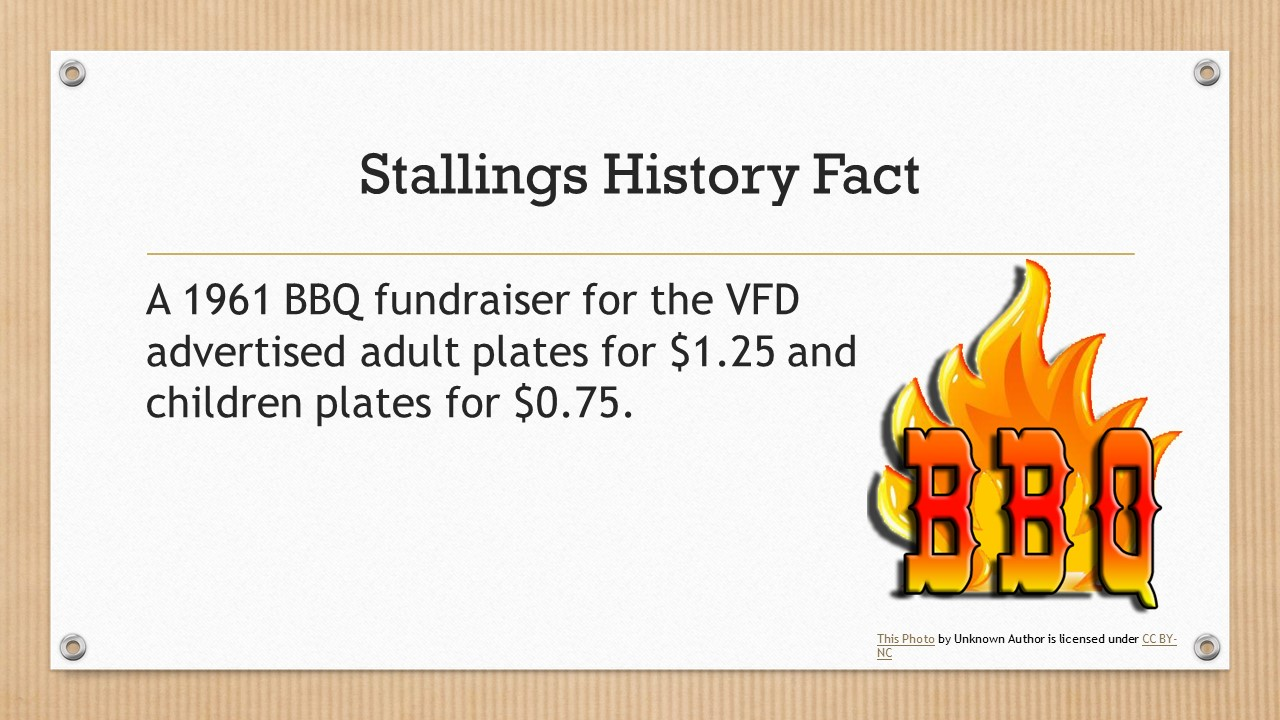 A 1961 BBQ fundraiser for the Volunteer Fire Department advertised adult plates for $1.25 and children's plates for $0.75