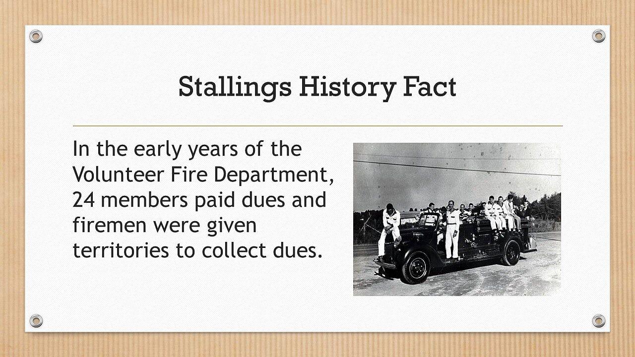 In the early years of the Volunteer Fire Department, 24 members paid dues and firemen were given territories to collect dues.